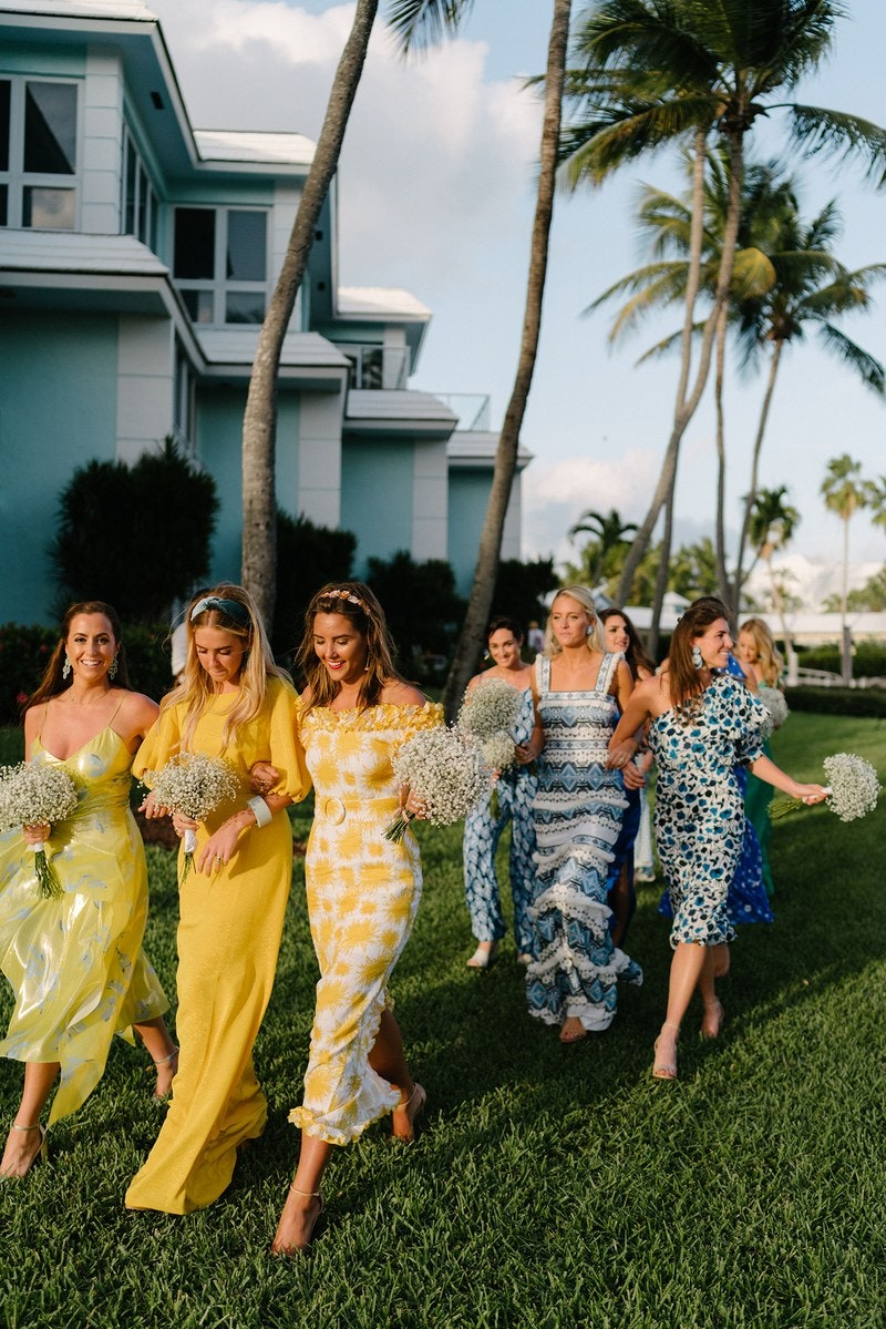 mixed print yellow bridesmaids / photo by olivia rae james
