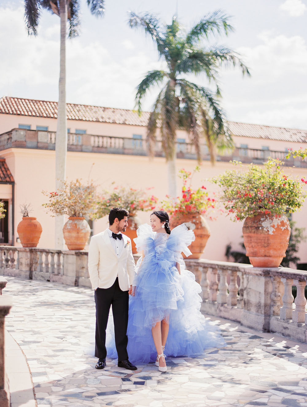 Romantic elopement inspo with a purple tulle gown