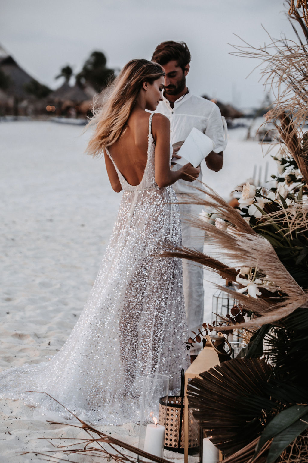 Boho Mexico elopement with a sparkly gown
