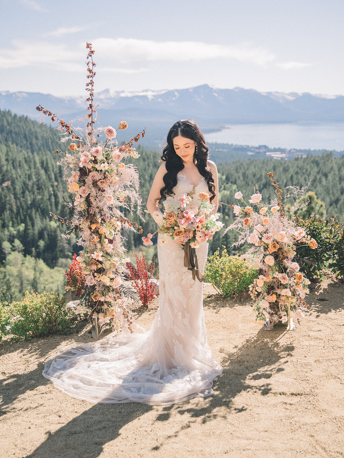 Modern bohemian wedding inspiration at Lake Tahoe with four dreamy bridal gowns