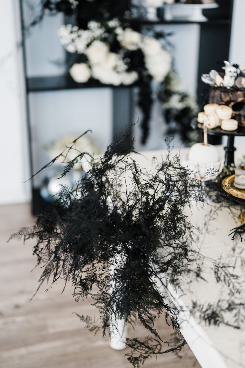 Spooky black and white Halloween party and wedding ideas